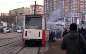 На улице Румянцева загорелся трамвай с пассажирами