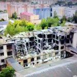 Разрушенный пожаром цех фабрики Шарм в Смоленске сняли с высоты птичьего полета