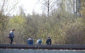 Юные смоляне бегают по железной дороге