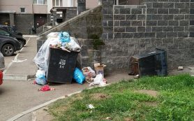 Мусорный контейнер горел возле детской площадки в Ярцеве